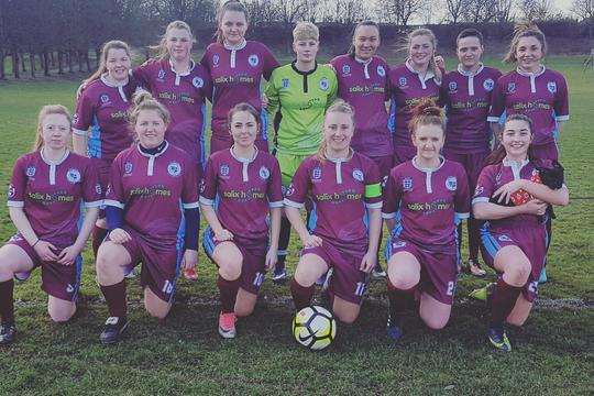 Barr Hill Ladies FC in their new kit sponsored by Salix Homes