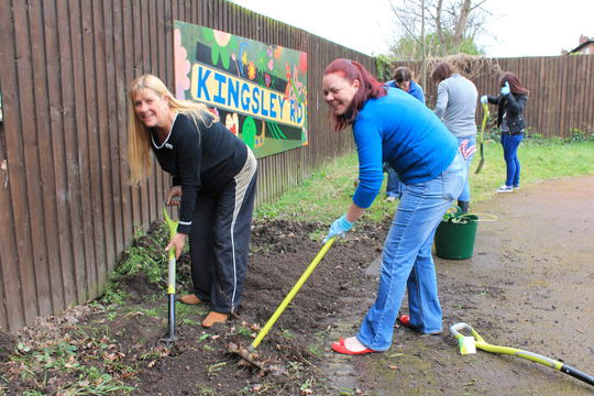 Carol Lawley and Kellie McDonnell helping out in the garden