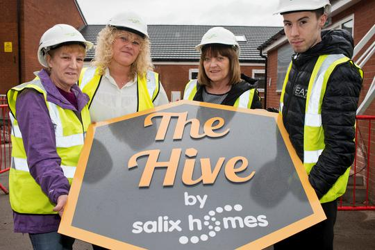 Cllr Davies' widow Linda Davies and son Wes Davies at the official naming ceremony, with Rachel Connelly, supported housing service manager at Salix Homes, and Sue Sutton, executive director of operations at Salix Homes.