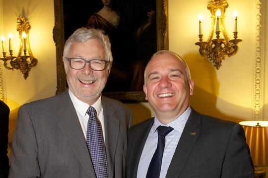 Roger Baldry, from the Broughton Trust, and Lee Sugden, chief executive at Salix Homes, at Downing Street.