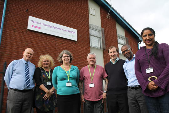 Members of the Housing Options Team, based at the Salford Housing Options Point (SHOP), are among the best in the country in helping homeless people. From left to right: Ian Hilton, Elaine Porter, Jane Anderson, Kevin Smith, David Lowe, Ted Baliba and Purima Kaur.
